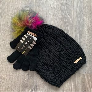 NWT BEBE Logo  Black Pom Pom Hat & Gloves Set